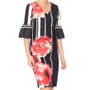 ECI Dresses - NWT ECI New York Floral Striped Print Crepe Dress
